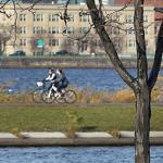 Passers-by enjoyed the temperate weather along Storrow Drive on Sunday.